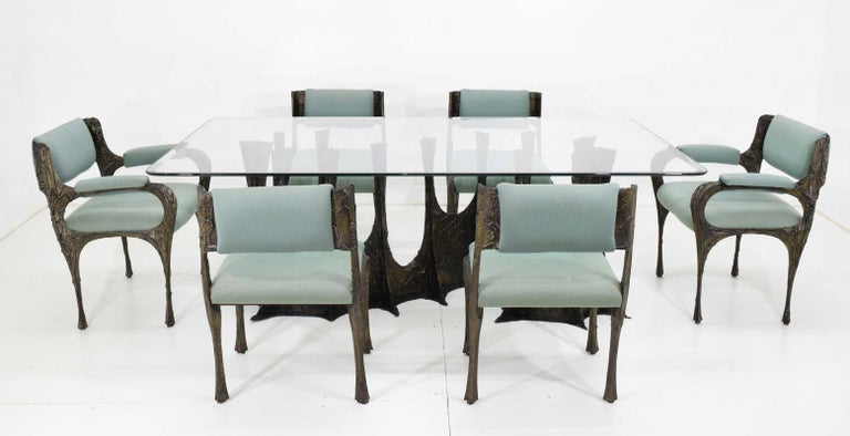 A spectacular and very rare sculptural Brutalist Paul Evans stalagmite base dining table, model PE102, signed PE72. The bronze and resin composite base is in extraordinary condition and shows beautifully with its deep dark bronze patina. The table