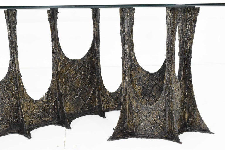 American Paul Evans Brutalist Stalagmite Bronze and Resin Base Dining Table, 1972, Signed For Sale