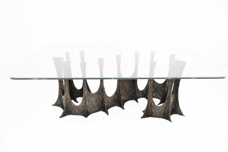 20th Century Paul Evans Brutalist Stalagmite Bronze and Resin Base Dining Table, 1972, Signed For Sale