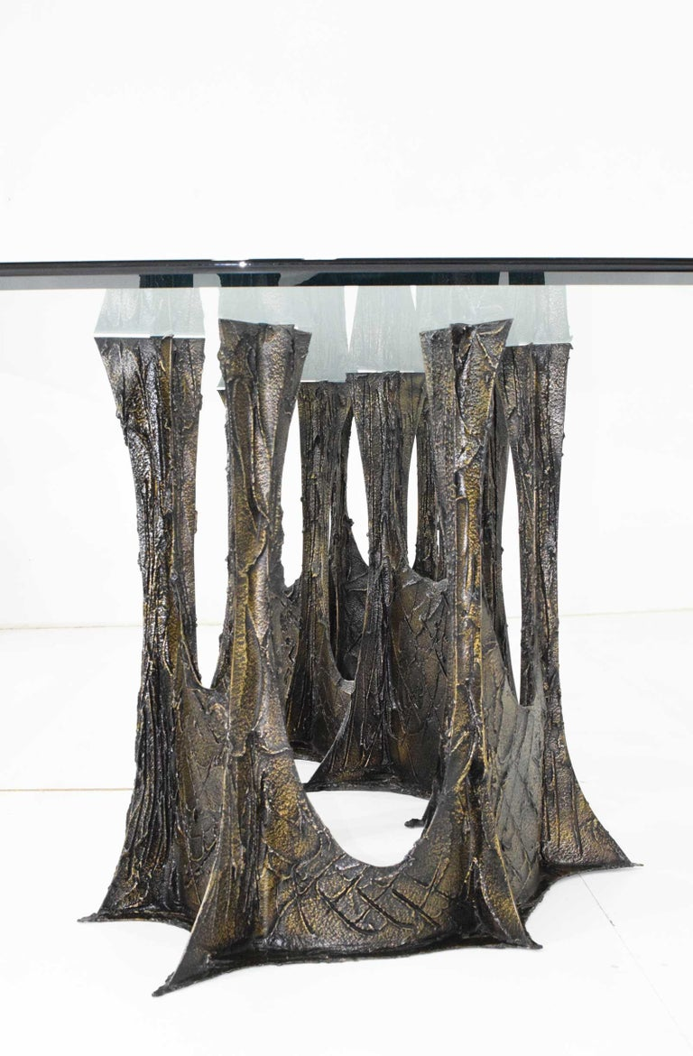 Paul Evans Brutalist Stalagmite Bronze and Resin Base Dining Table, 1972, Signed For Sale 2