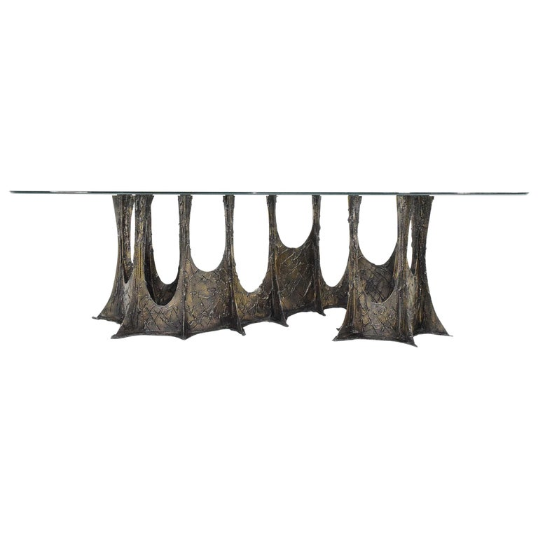 Paul Evans Brutalist Stalagmite Bronze and Resin Base Dining Table, 1972, Signed For Sale
