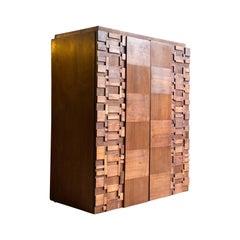 Paul Evans Brutalist Walnut Cabinet by Lane Furniture, USA, circa 1970s