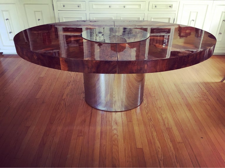 Paul Evans Burl and Chrome Expanding Dining Table For Sale 4