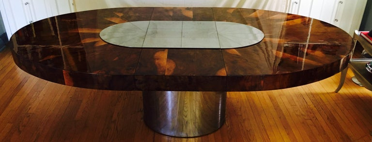 Mid-Century Modern Paul Evans Burl and Chrome Expanding Dining Table For Sale