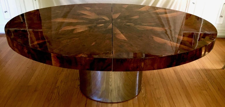 Polished Paul Evans Burl and Chrome Expanding Dining Table For Sale