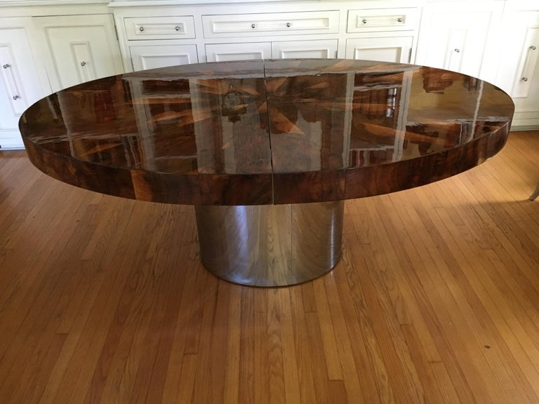 20th Century Paul Evans Burl and Chrome Expanding Dining Table For Sale