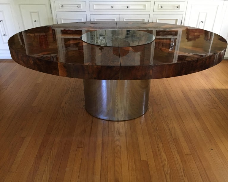 Paul Evans Burl and Chrome Expanding Dining Table For Sale 2
