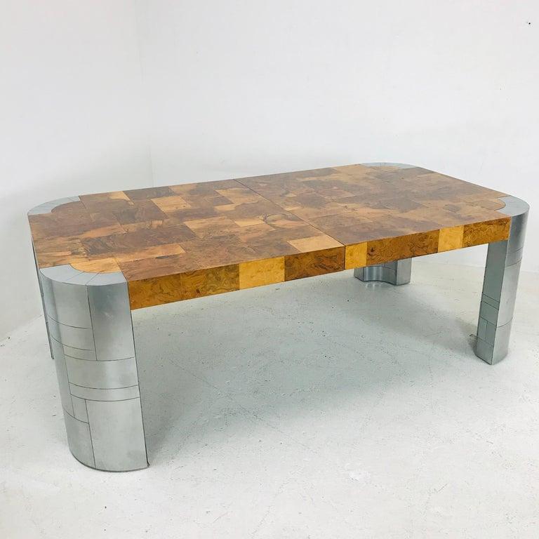 Paul Evans Burl Wood/Chrome Dining Table For Sale 3