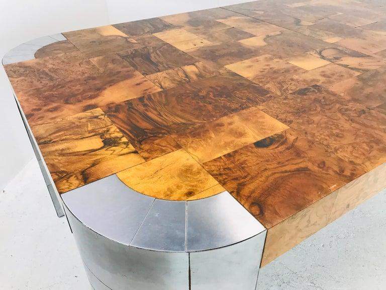 Paul Evans Burl Wood/Chrome Dining Table For Sale 4