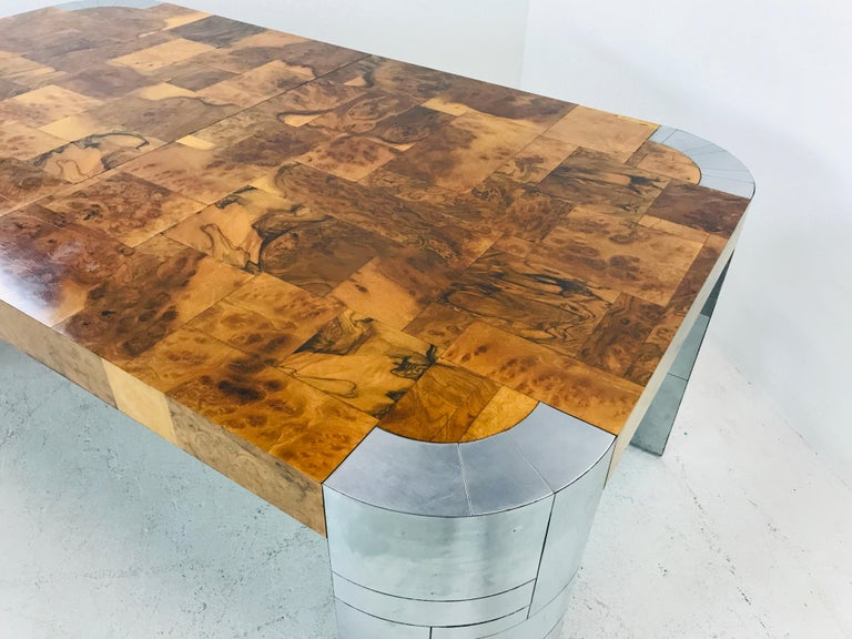 Paul Evans Burl Wood/Chrome Dining Table For Sale 7