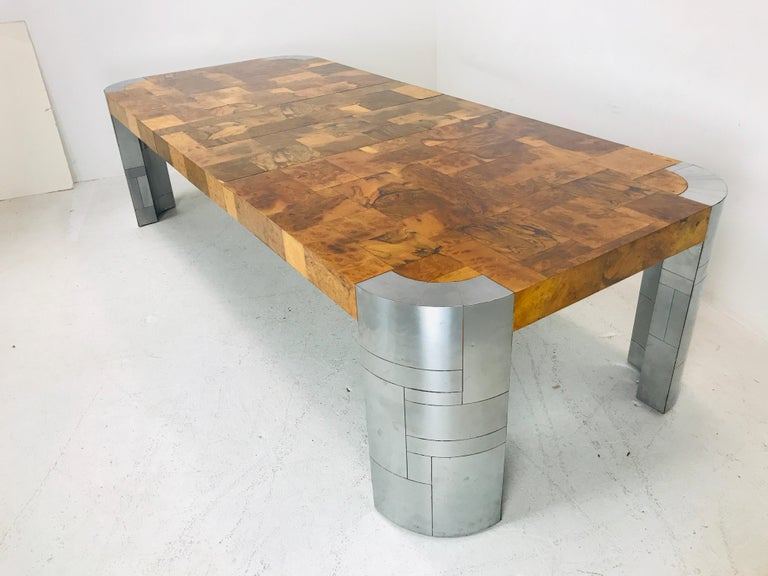 Mid-Century Modern Paul Evans Burl Wood/Chrome Dining Table For Sale