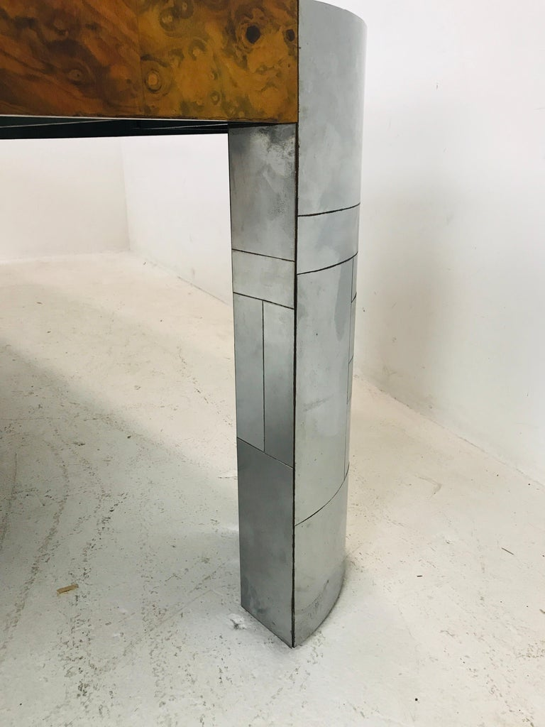 Paul Evans Burl Wood/Chrome Dining Table In Good Condition For Sale In Dallas, TX