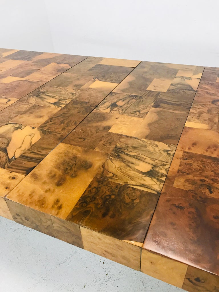 Late 20th Century Paul Evans Burl Wood/Chrome Dining Table For Sale