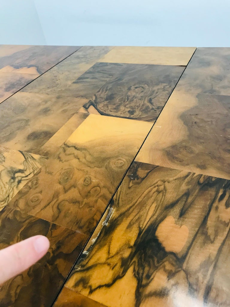 Stainless Steel Paul Evans Burl Wood/Chrome Dining Table For Sale