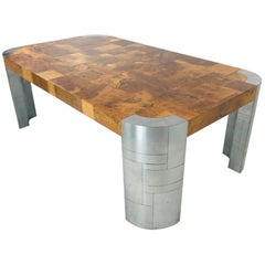 Paul Evans Burl Wood/Chrome Dining Table