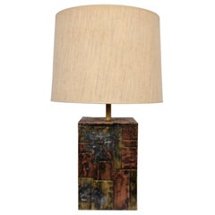 "Paul Evans Studio CBP Copper, Brass, Pewter ""Patchwork"" Table Lamp, Late 1960s"