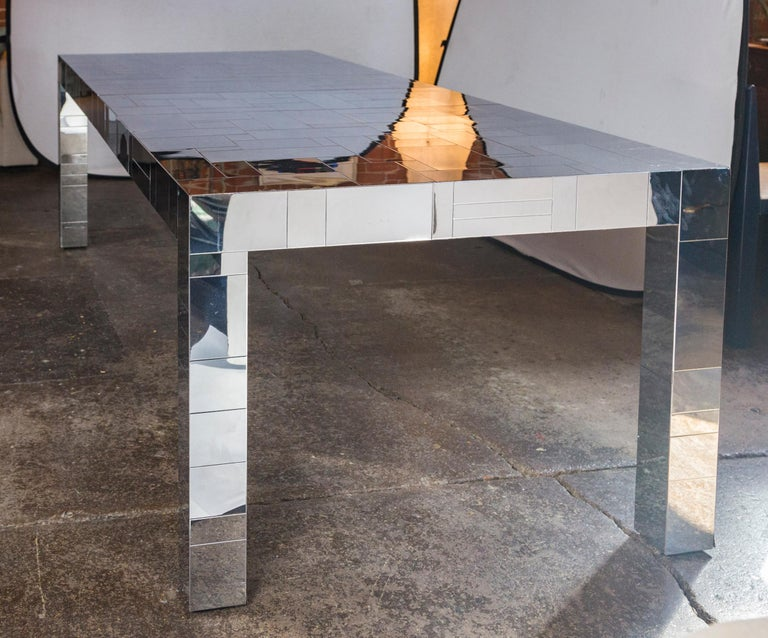 Mid-Century Modern Paul Evans Chrome Cityscape Dining Table for Directional, 1970s For Sale