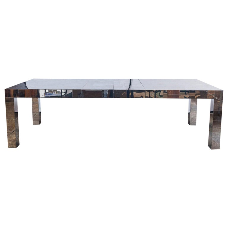 Paul Evans Chrome Cityscape Dining Table for Directional, 1970s For Sale