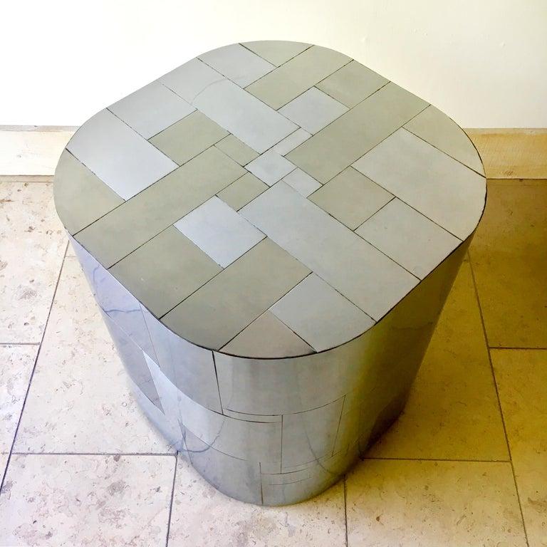 American Paul Evans Chrome Cityscape Pedestal Table Base, 1970s For Sale