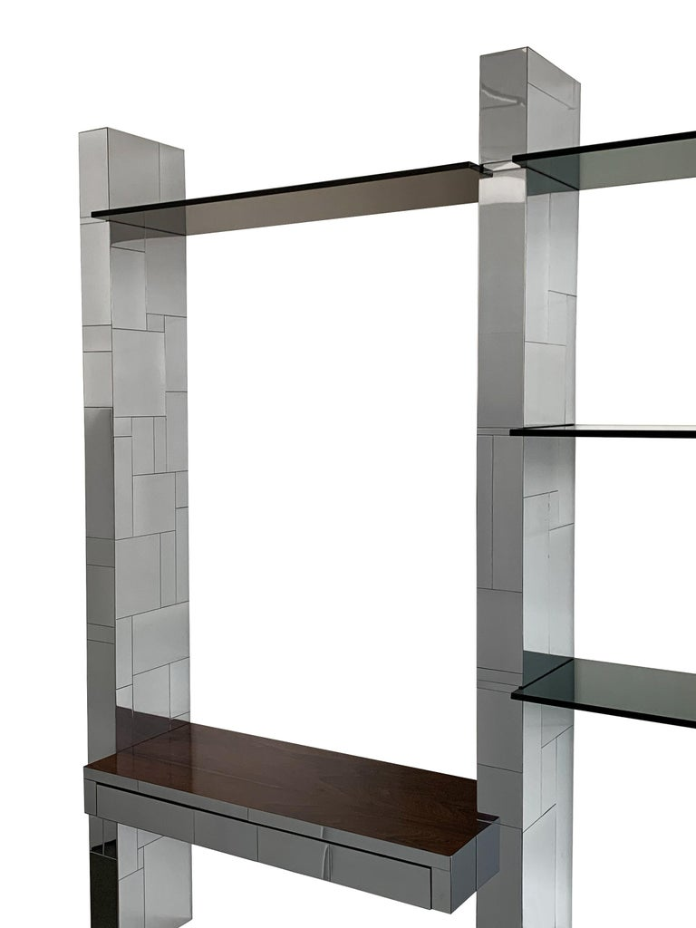 Paul Evans Chrome Cityscape Wall Shelving System For Sale 2