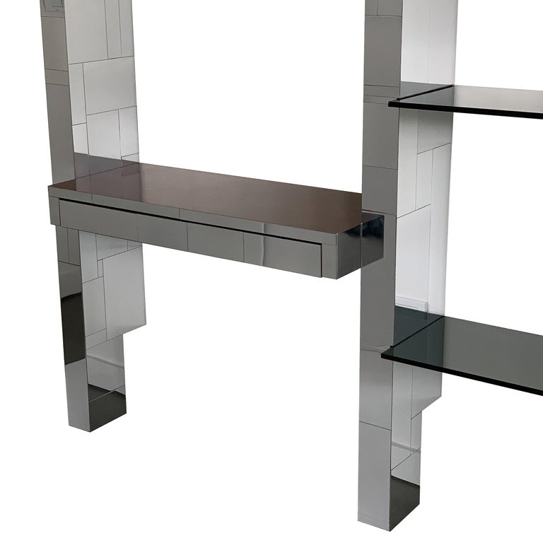 Paul Evans Chrome Cityscape Wall Shelving System In Good Condition For Sale In Chicago, IL