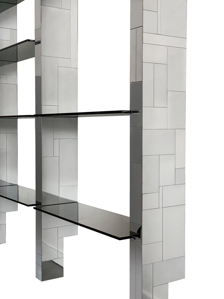 Late 20th Century Paul Evans Chrome Cityscape Wall Shelving System For Sale