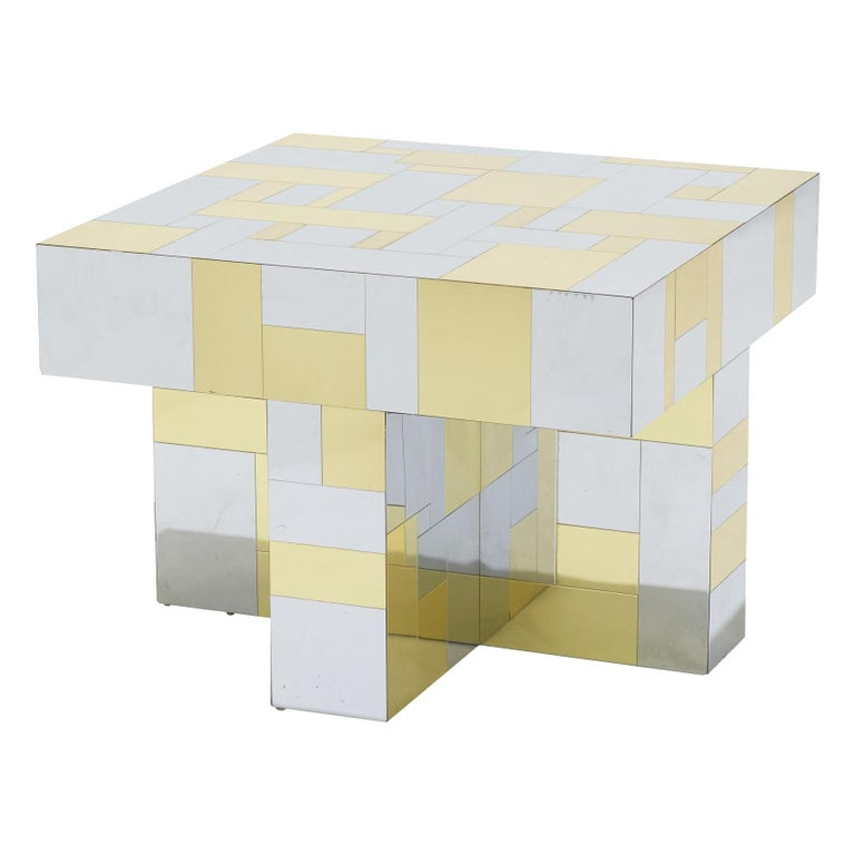 Paul Evans, Cityscape Brass and Chrome Occasional Table, PE 400 Series For Sale
