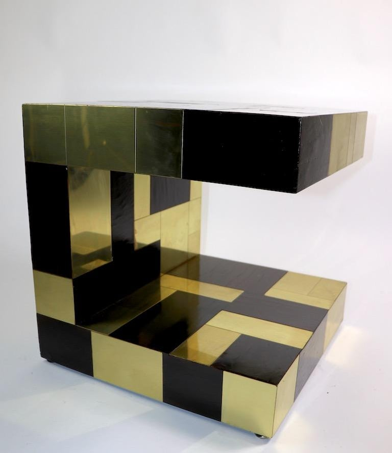 Paul Evans Cityscape Brass and Wood Side Table For Sale 5