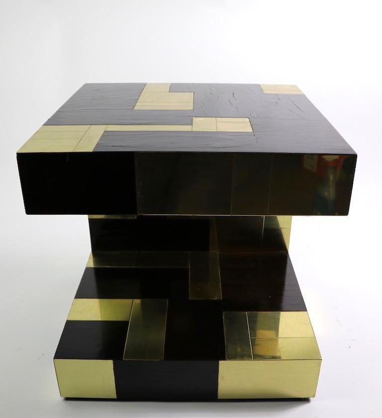 Paul Evans Cityscape Brass and Wood Side Table For Sale 7