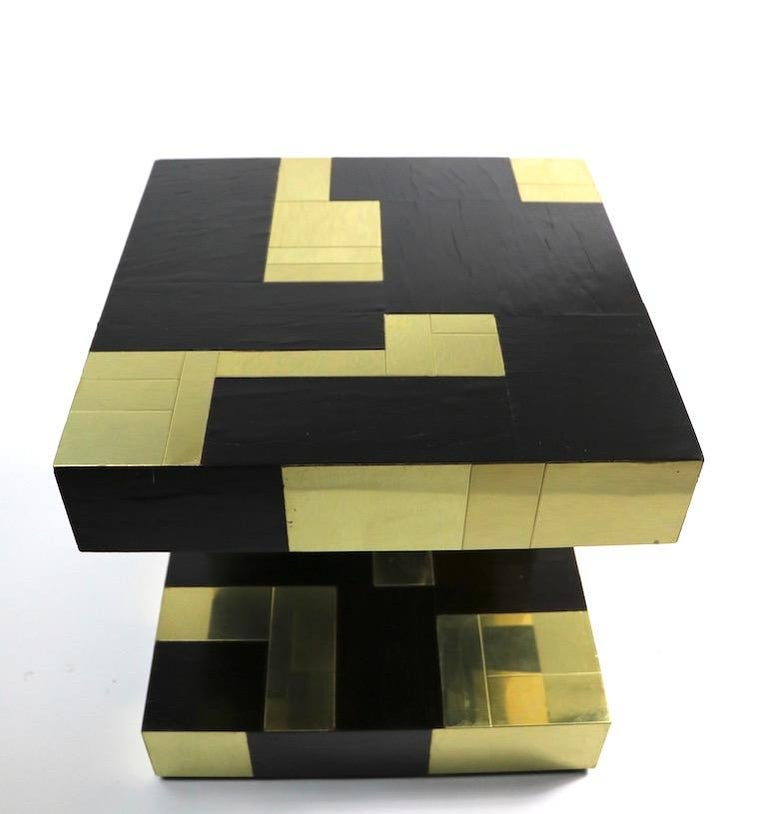 Paul Evans Cityscape Brass and Wood Side Table For Sale 8