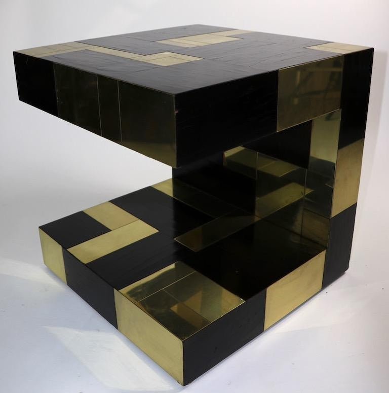 Paul Evans Cityscape Brass and Wood Side Table For Sale 12