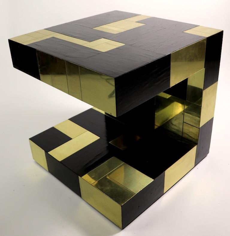 Paul Evans Cityscape Brass and Wood Side Table For Sale 13