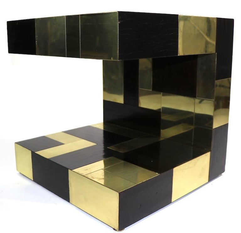 Paul Evans Cityscape Brass and Wood Side Table For Sale 14