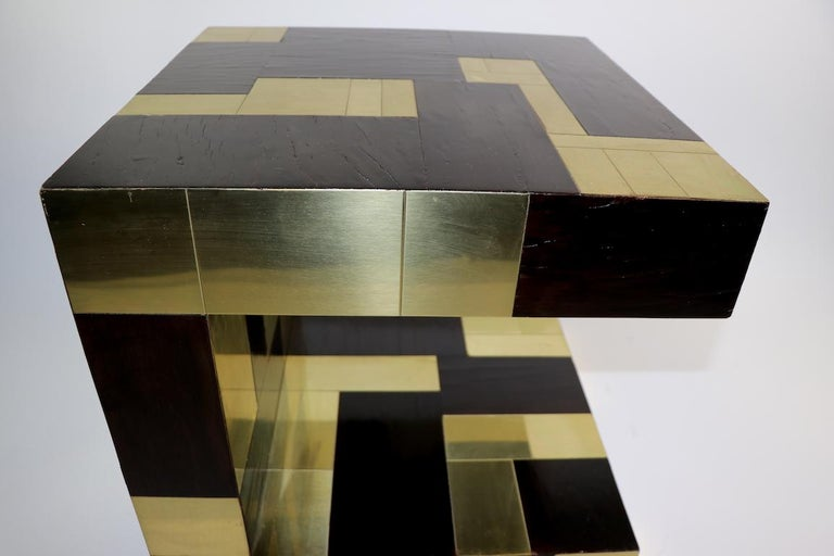 Mid-Century Modern Paul Evans Cityscape Brass and Wood Side Table For Sale