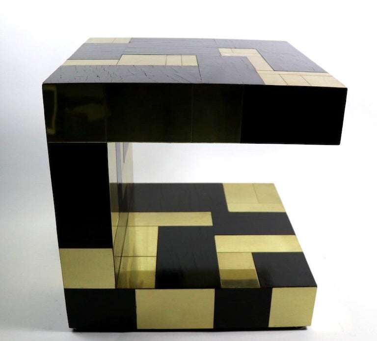 American Paul Evans Cityscape Brass and Wood Side Table For Sale