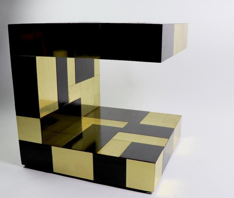 Paul Evans Cityscape Brass and Wood Side Table In Good Condition For Sale In New York, NY
