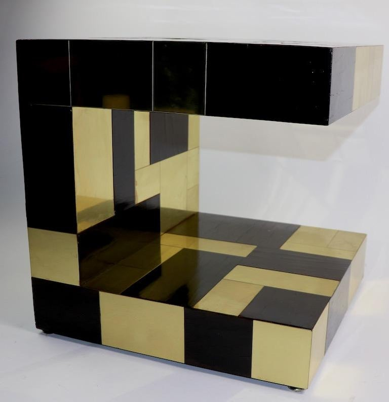 20th Century Paul Evans Cityscape Brass and Wood Side Table For Sale