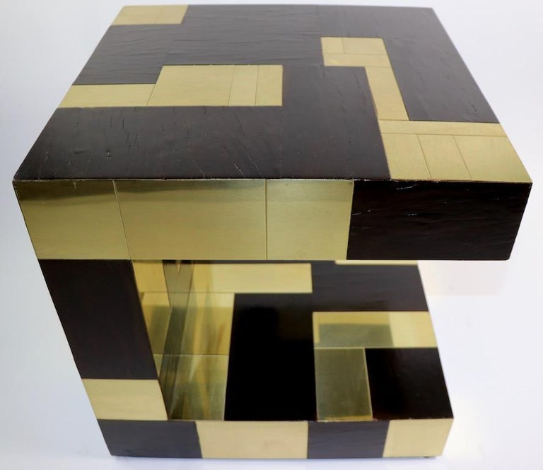 Paul Evans Cityscape Brass and Wood Side Table For Sale 1