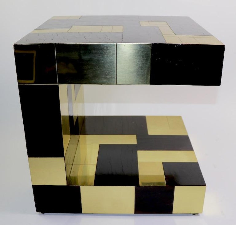 Paul Evans Cityscape Brass and Wood Side Table For Sale 2