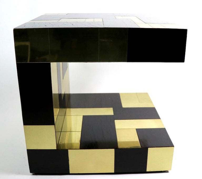 Paul Evans Cityscape Brass and Wood Side Table For Sale 3