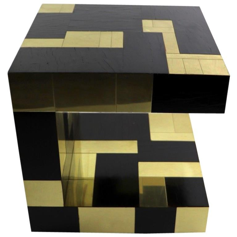 Paul Evans Cityscape Brass and Wood Side Table For Sale