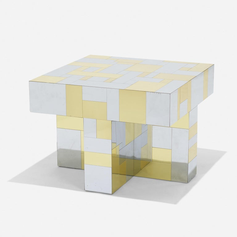 A super and unique Paul Evans brass and chrome patchwork cityscape square form coffee/ side table. model no PE 400by signed Paul Evans, circa 1975. Paul Evans Studio for Directional, USA. Impressed manufacturers mark to base an original Paul Evans.