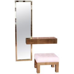 Paul Evans Cityscape Brass Mirror and Floating Console with Parsons Bench, 1973