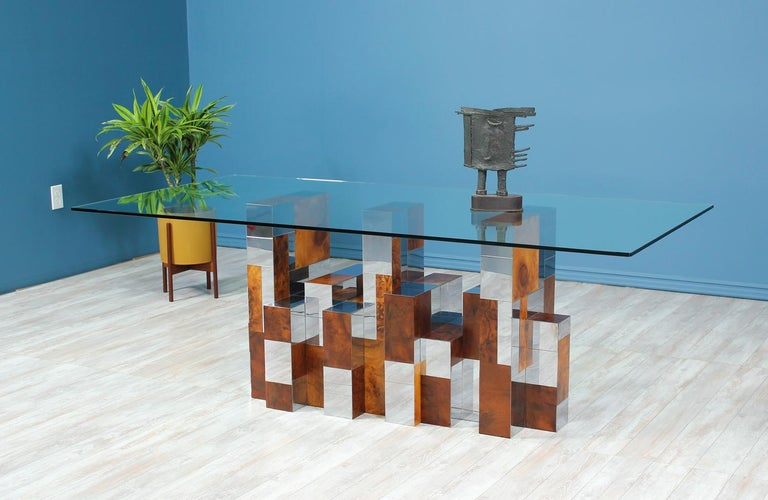 """Mid-Century Modern Paul Evans """"Cityscape"""" Burl Wood & Chrome Dining Table for Directional For Sale"""