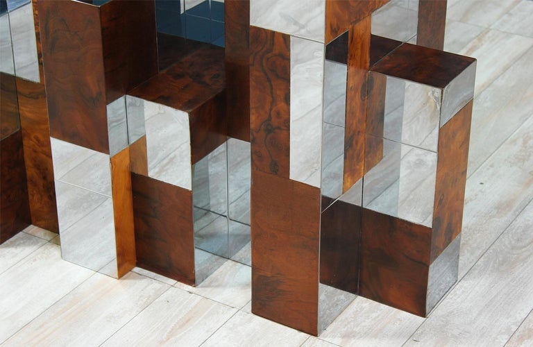 """American Paul Evans """"Cityscape"""" Burl Wood & Chrome Dining Table for Directional For Sale"""