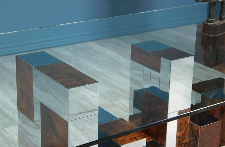 """Late 20th Century Paul Evans """"Cityscape"""" Burl Wood & Chrome Dining Table for Directional For Sale"""
