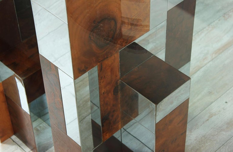 """Steel Paul Evans """"Cityscape"""" Burl Wood & Chrome Dining Table for Directional For Sale"""