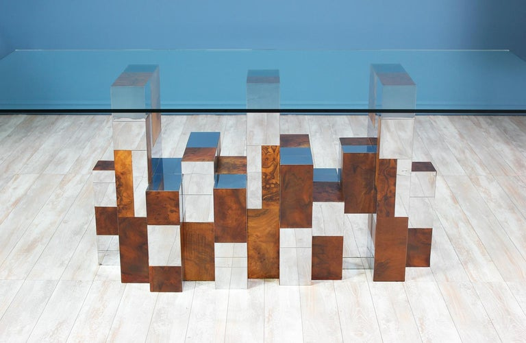 """Paul Evans """"Cityscape"""" Burl Wood & Chrome Dining Table for Directional For Sale 2"""