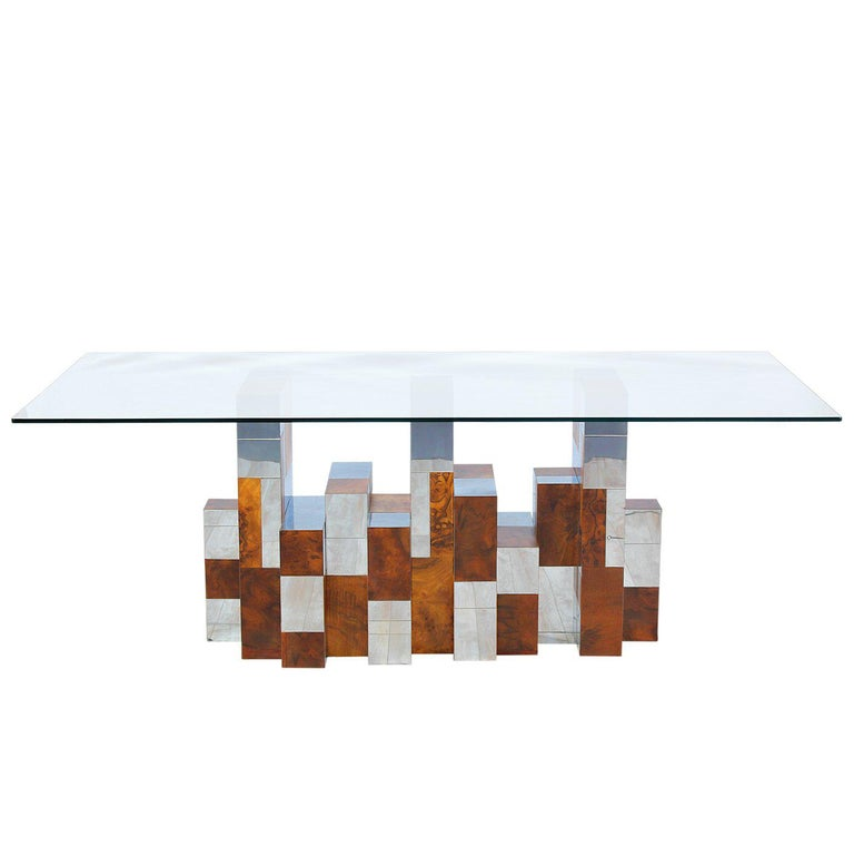 """Paul Evans """"Cityscape"""" Burl Wood & Chrome Dining Table for Directional For Sale"""