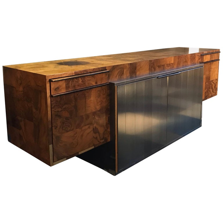 """Paul Evans """"Cityscape"""" Burlwood Credenza for Directional Furniture, 1970s For Sale"""